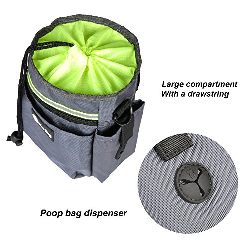 Dog Treat Training Pouch with Built-In Poo Waste Bags Dispenser Pockets, Total 6 pcs Pockets Easily Carries Pet Foods, Toys, Keys and Phone etc– 3 Ways To Wear – Grey