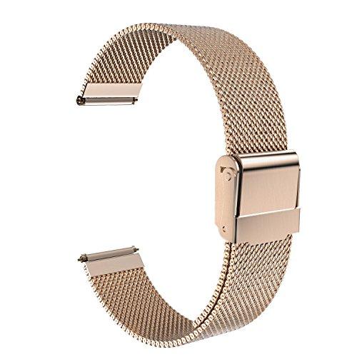 MoKo Pebble Time und Time Steel Armband, universal 22mm Netz Edelstahl Uhrenarmband Erstatzband Uhr Band für Gear S3 Frontier, S3 Classic, 2, Xiaomi Amazfit pace, Moto 360 2nd Gen 46mm, Rose Gold