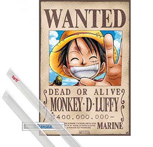 Poster + Suspension : One Piece Mini Poster (52x35 cm) Wanted Monkey D. Luffy Et Kit De Fixation Transparent 1art1®