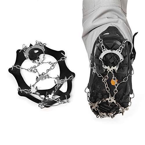 OUTEC Steigeisen Traction Cleats Ice Snow Grips Ice Cleats mit 18 Spikes zum Laufen, Joggen, Klettern und Wandern auf Schnee, EIS, Schlamm, Sand und nassem Gras,L -