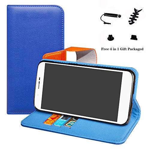 LFDZ Archos 55 Helium Hülle, [Standfunktion] [Kartenfächern] PU-Leder Schutzhülle Brieftasche Handyhülle für Archos 55 Helium / 55 Helium Ultra Smartphone (mit 4in1 Geschenk Verpackt),Deep Blue