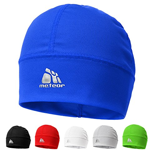 meteor® Ghost Silver Beanie Cap - Wind-resistant Unisex Skull Cap Ideal as a headgear for running, skiing, snowbording, running, or cycling - Under the Helmet (blue)