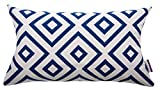 Tom Tailor 564187 Cushion Cover T-Open Squares, 30 x 50 cm Poly Cotton Blue/White