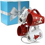 matches21 Weihnachtstassen Weihnachtsmotiv Tassen Becher mit Löffel 6-tlg. Geschenk-Set inkl. Geschenkkarton & Edelstahl Tassenhalter