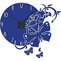Wandtattoo Uhr mit Uhrwerk Wanduhr für Küche Schmetterling Blumen Ornamente