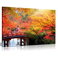 Japanese Autumn Leaves Trees Canvas Wall Art Picture Print (24X16)