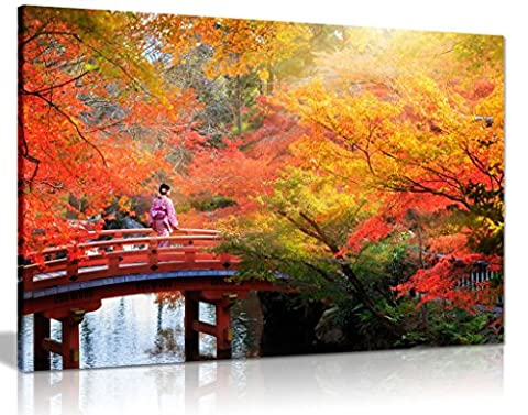Japanese Autumn Leaves Trees Canvas Wall Art Picture Print (36X24)