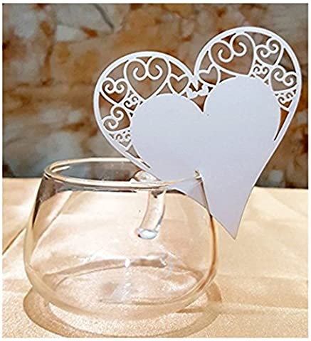 Premium 50pcs Wedding Place Table Name Cards 3D Laser Cut Heart Seating Card Party Wine Glass Cup Decoration Card for Christmas Engagement Birthday Shower Favor (White 2) DIKETE®