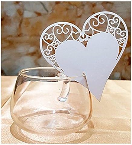 Premium 50pcs Wedding Place Table Name Cards 3D Laser Cut Heart Seating Card Party Wine (Bridal Shower Regalo Regalo Di Nozze)