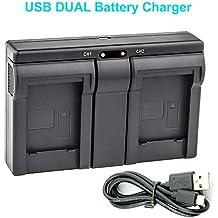 LP-E17 USB Dual Cargador de Batería para Canon LC-E17, LC-E17C and Canon EOS M3, EOS Rebel T6i, EOS Rebel T6s, EOS 750D, EOS 760D, EOS 8000D, Kiss X8i camera