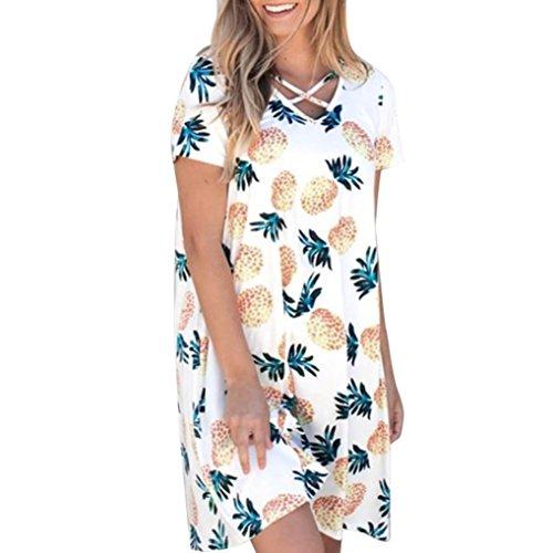 Jaysis Damen Beiläufig Ananas Druck O Ausschnitt Kurzarm Mini Taschenkleid (L, Weiß) - Ananas Blase