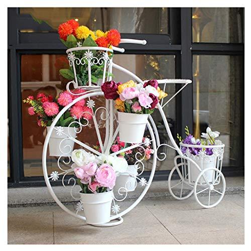 Stand europeo creativo per biciclette | fioriera per fiori in ferro battuto | espositore per fioriera bianca | per soggiorno camera da letto balcone decorazione da giardino - bianco