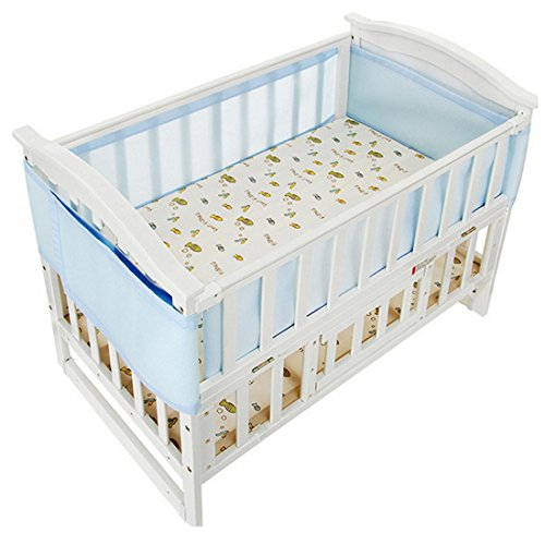 Preisvergleich Produktbild Little World atmungsaktiv muss Kinderbett-Liner Set–hellblau