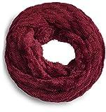 Grin&Bear warmer weicher Loop Schal mit Strick Muster und weichem Fleece Innenfutter A21-4