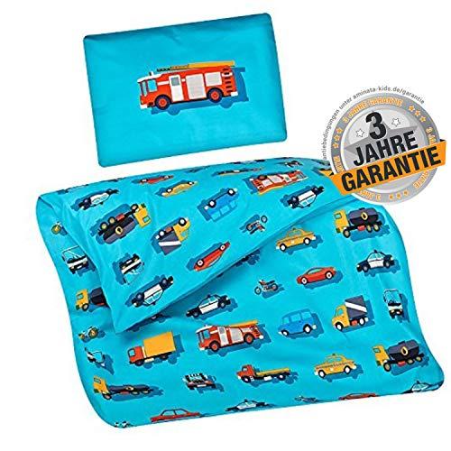 Aminata Kids Baby-Bettwäsche-Set Auto 100-x-135-cm Jungen, Mädchen - Baumwolle - hell-blau, bunt - kräftige gestochen scharfe Farben Dank Digital-Druck, Marken-Reißverschluss & Öko-Tex