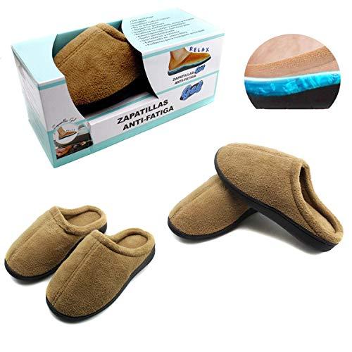 Zapatillas de Andar por casa de Gel Relax para Hombre y Mujer máximo Confort y Comodidad (Medium, Marrón)