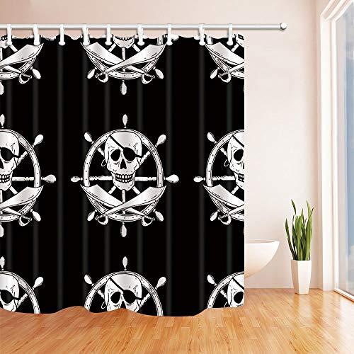 GoHEBE Piraten Schild mit Totenkopf und Schwerter mit einem Helm auf Hintergrund Polyester-Duschvorhang Schimmelresistent-Badezimmer Dekoration Bad Vorhänge Haken enthalten 180x180cm (Glitter Teal Hintergrund)