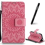 Schutzhülle für Nokia Lumia 630 Pink,Slynmax Mandala Blume Hülle Wallet Case Handyhülle für Nokia Lumia 630/635 Tasche Klapphülle Flip Cover Ledertasche Brieftasche Lederhülle Handytasche,Flower