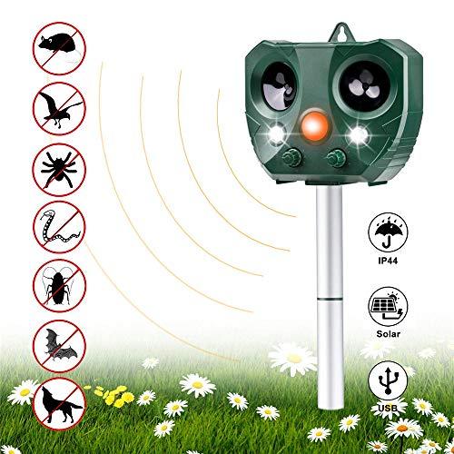 Vannico Ahuyentador de Gatos, ahuyentador de Animales, Repelente a los Rayos ultrasónicos, Impermeable, 5 Modos Ajustables, para Gatos, Perros, Ratones, marderschreck (AR 1)