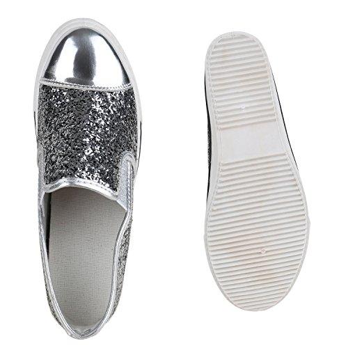 Sneaker-Wedges Damen Keil Absatz Turnschuhe 90's Look Freizeit Silber Glitzer