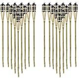STAR - LINE 24 Stück Gartenfackel Bambusfackel 90 cm Naturfarbe aus Bambus inkl. Docht + Tank für draussen/Garten Lampe Öllampe