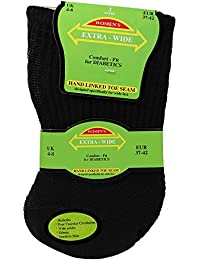 Women's Black Extra Wide Comfort Fit Diabetic Travel Socks (3 Pair Pack)
