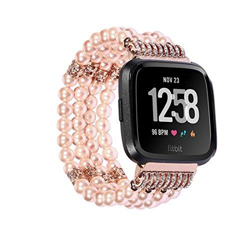SUNEVEN für Fitbit Versa Band, Handgefertigt Elastic Stretch Achat Perlen Armband Ersatz Jewelry Armband Gurt 22mm Breite für Fitbit Versa Smartwatch, Rose