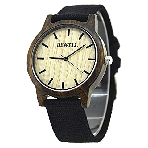 Bewell W134A Natural Wooden Bezel Wooden Watch Black Canvas Strap Causal Style Unisex Wristwatch for Men and Women (black