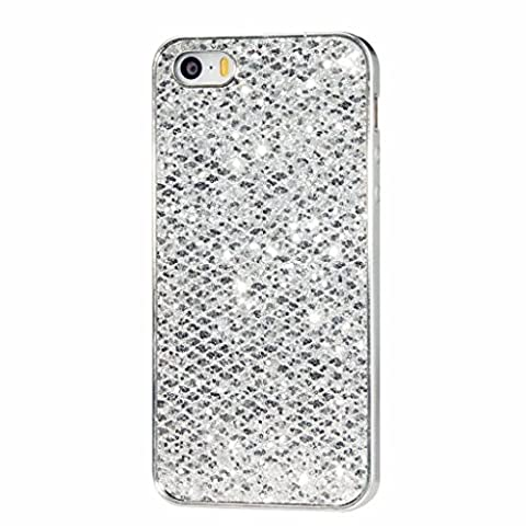 MUTOUREN iPhone SE/5/5S case cover Flexible portable Durable PerfectFitSlim ultra thinTransparent clear case coverSturdyBumperTPUGelSkinRubberSoftFlexible anti-scratch shock-absorbing case cover-silver