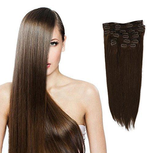 12 x 45,7 cm 150 g femmes cheveux 100% humains Remy Clips Extensions de cheveux, droite # 4 brun chocolat, 45,7 cm
