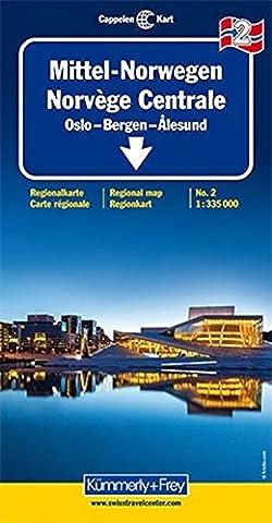 Kümmerly & Frey Karten, Mittel-Norwegen Blatt 2. Oslo, Bergen, Alesund. Mit touristischen