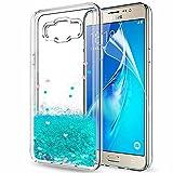LeYi Coque Galaxy J7 2016 Etui avec Film de Protection écran, Fille Personnalisé Liquide Paillette Transparente 3D Silicone Gel...