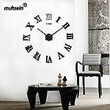 muhsein 2017 neue DIY Wanduhr moderne große 3D Uhr Acryl Spiegel Frameless Wandaufkleber Uhren Stil Zimmer Home Office Dekorationen Geschenk (Schwarz)