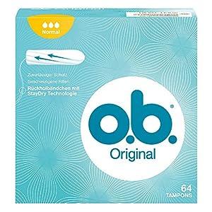 o.b. Original Normal Tampons mit geschwungenen Rillen/Für zuverlässigen Schutz ideal für normale Tage, 64er Pack
