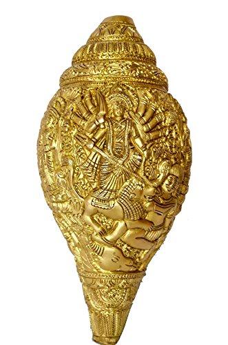 Lavoro Durga indù Shankh (Shell) con Durga Ma Design su Shankh Shell () realizzato in (Shell Accenti)