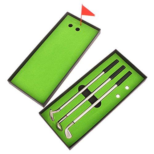 GUOQIAO Golfmodelle-Kugelschreiber aus Metall und 2 Golfbälle, Trainingszubehör, 3 Stück -