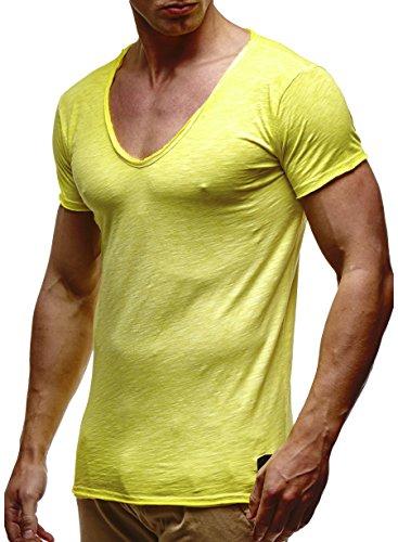 LEIF NELSON Herren T-Shirt V-Neck V-Ausschnitt Kurzarm-shirt Top Basic Shirt Crew Neck Vintage Sweatshirt Sweater LN6280-1 S-XXL; Größe XL, Verw. Gelb