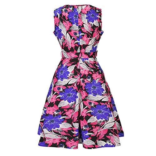 MAOMAO Robe de Soirée/Bal Courte Rétro Vintage Impression année 1950 Style Audrey Hepburn Rockabilly Swing Sans Manche Rose