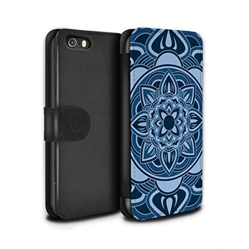 Stuff4 Coque/Etui/Housse Cuir PU Case/Cover pour Apple iPhone SE / Octogone/Bleu Design / Art Mandala Collection Pétale/Bleu