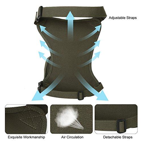 Eshow borsa da gamba marsupio cosciale da uomo di tela trekking escursioni sportivo soft air nero Verde