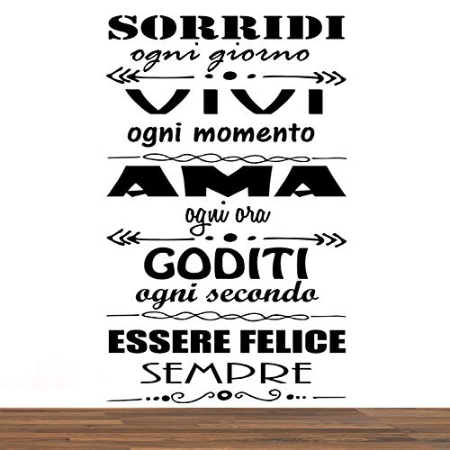 Vinilo pared decorativo, pegatina pared frase en Italiano'SORRIDI OGNI GIORNO' adesivi murali frasi in italiano citazione, decorazione da Muro,Wall Stickers, Art Sticker Decal Mural DC-19005
