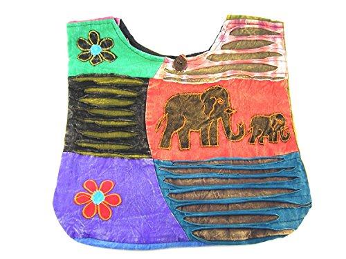 Patchwork Tasche Umhängetasche Handtasche Beuteltasche Tragetasche Schultertasche Tiermotiv Farbe Elefant (Patchwork-tasche)