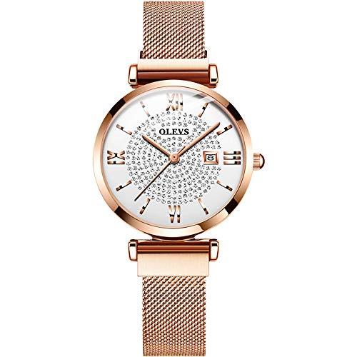 Mode lässig Stahlgürtel mit Diamanten voller Sterne weibliche Uhr,A ()