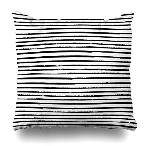 Kotdeqay Cushion Pillowcases 18 x 18 Inch Stripe Striped Vintage Paint Doodle Abstract Brush for Couch Decorative - Vintage Paint Brush