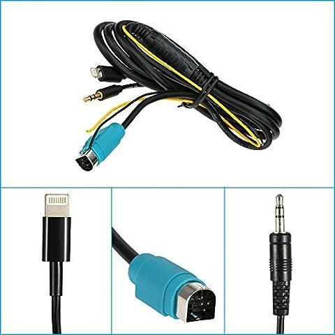 kkmoon 3,5mm Auto den Eingangskabel Audio für Schnittstelle Ladekabel kce-236b Alpine für iPhone 55S 5C 66Plus