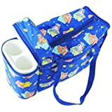 Neysa Multi Purpose Baby Diaper Mother Bag With 2 Bottle Holders - Keep Baby Bottles Warm (Dark Blue) - Assorted Prints