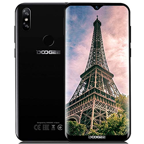 """DOOGEE Y8 3GB +32GB Günstige Handy ohne Vertrag 4G, 2019 Smartphone MT6739, Android 9,0 Mobile, 6,1\"""" Zoll Wassertropfen, Dual Nano SIM 5MP+8MP Face ID Fingerabdruck, Billige Senioren Telephone Schwarz"""