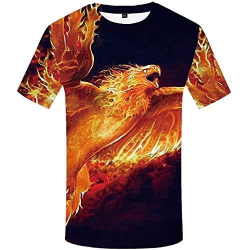 Feuer-jugend-t-shirt (3D Digitaldruck Feuer Phoenix T-Shirt Mode Lässig Komfort Größe Männlich Kurzarm@Schwarz_XL)