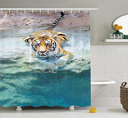 JIEKEIO Safari Decor Shower Curtain Set, Picture of A Bengal Tiger Lying Near The Water Wild Life Cave Stone Relax Clear Water, Bathroom Accessories, 60 * 72inchs Long -