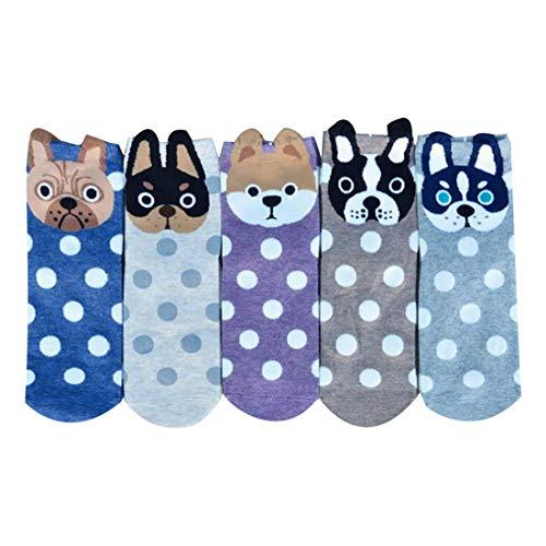 Puimentiua 5/6 Paar Damen Baumwolle Socken Vintage Thermal Socken Lustige Socken mit Cartoon Süßer Tiere EU 33-39